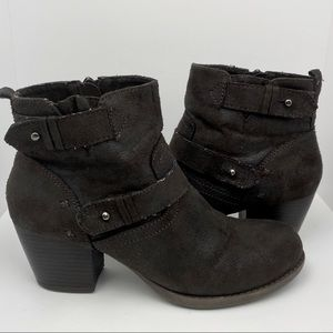 Crown Vintage Distressed Dark Brown Ankle Boots